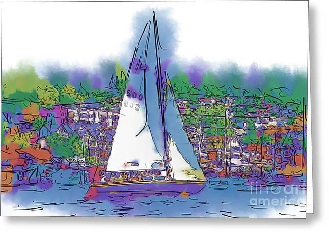 The Purple Sailboat Greeting Card