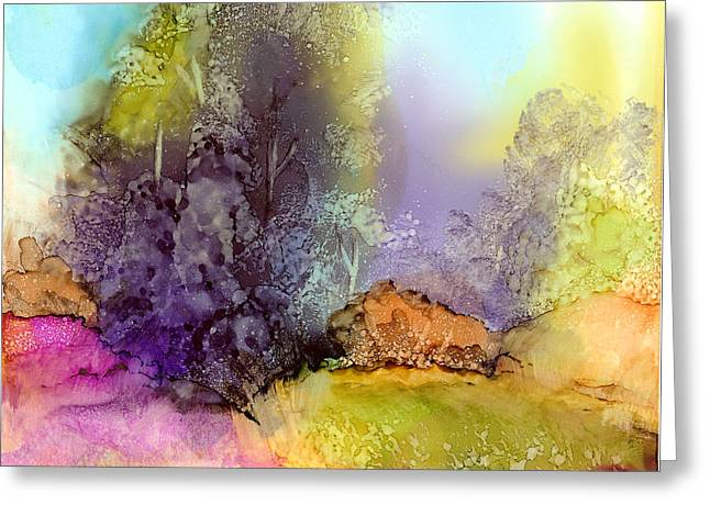 Greeting Card featuring the painting The Purple Tree by Karen Mattson