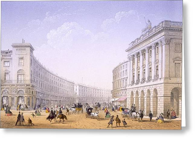 The Quadrant And Regent Street, London Greeting Card by Achille-Louis Martinet