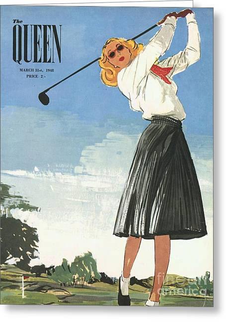 The Queen 1940s Uk Golf Womens Greeting Card by The Advertising Archives