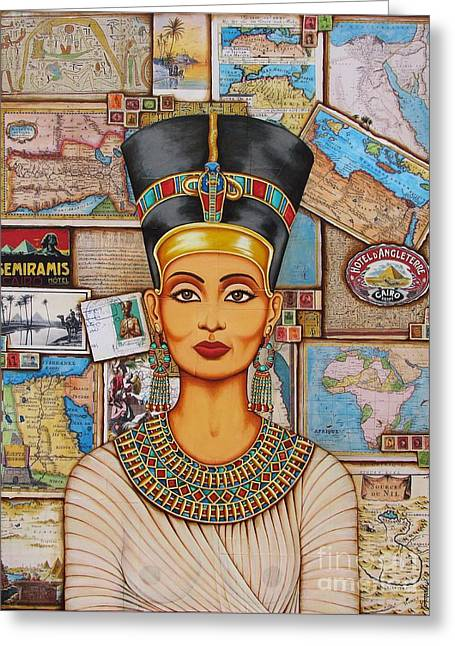 The Queen Of Amarna Greeting Card by Joseph Sonday