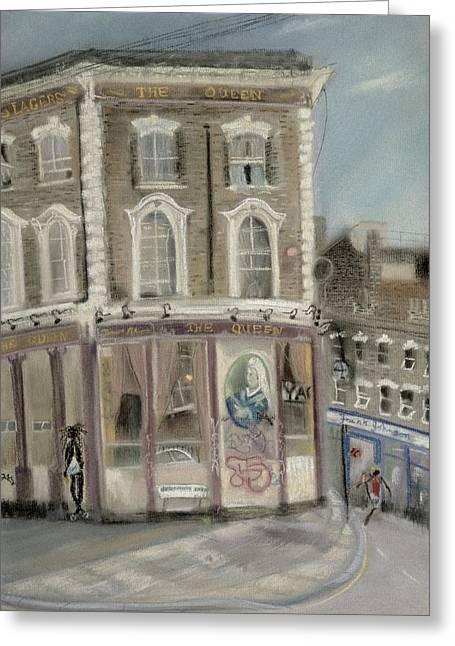 The Queen Pub, Bellefields Road Pastel On Paper Greeting Card by Sophia Elliot