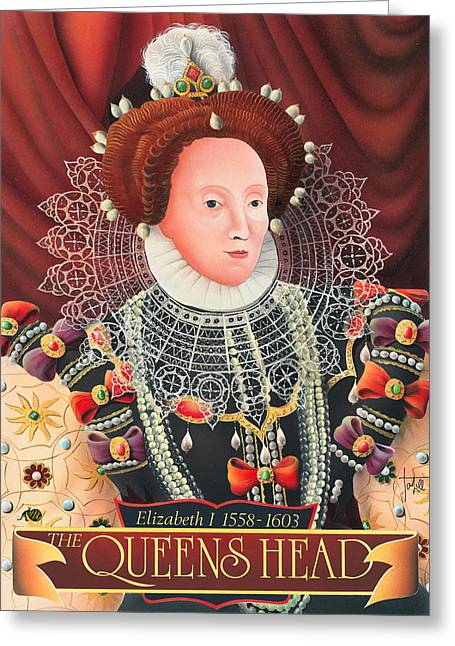 The Queens Head Greeting Card by Peter Green