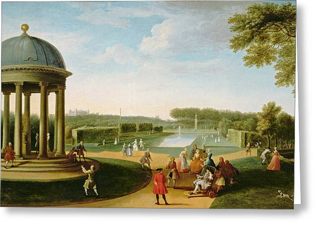 The Queens Theatre From The Rotunda, Stowe House, Bucks, With Lord Cobham And Charles Bridgeman Greeting Card by Jacques Rigaud