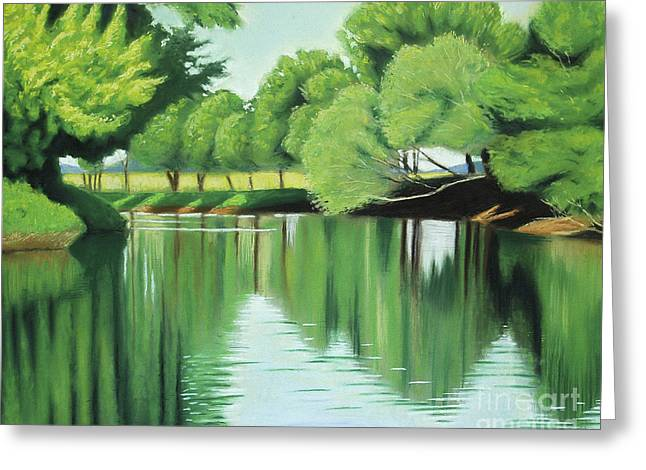 Greeting Card featuring the painting The Quiet River Again by Robert Coppen
