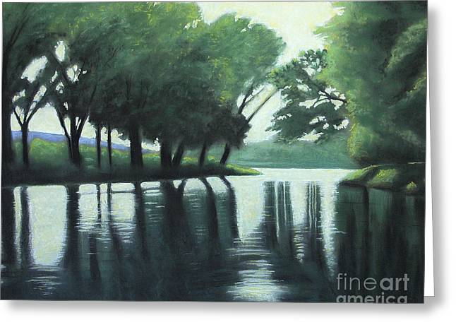 Greeting Card featuring the pastel The Quiet River by Robert Coppen