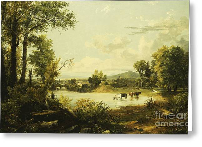 The Quiet Valley Greeting Card by Jasper Francis Cropsey