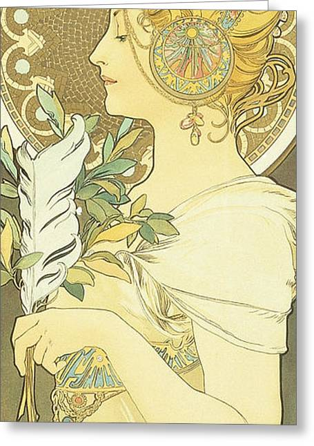 The Quill Greeting Card by Alphonse Marie Mucha