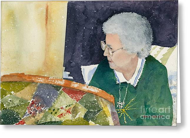 The Quilter Greeting Card by Monte Toon