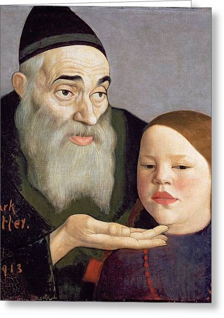 The Rabbi And His Grandchild, 1913 Greeting Card by Mark Gertler