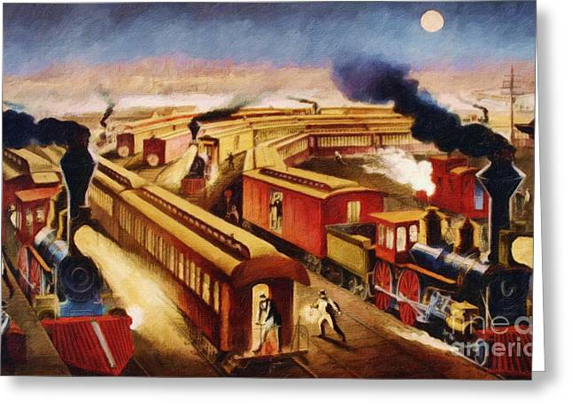 The Railroad Junction - Circa 1880 Greeting Card by Lianne Schneider