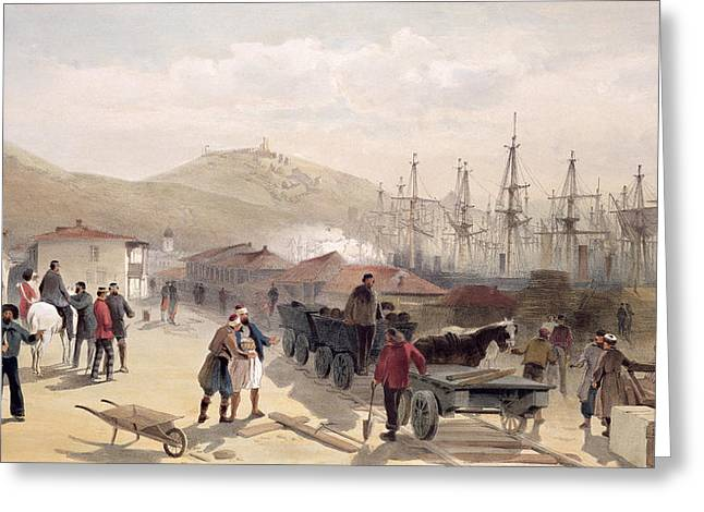 The Railway At Balaklava, Plate Greeting Card by William 'Crimea' Simpson