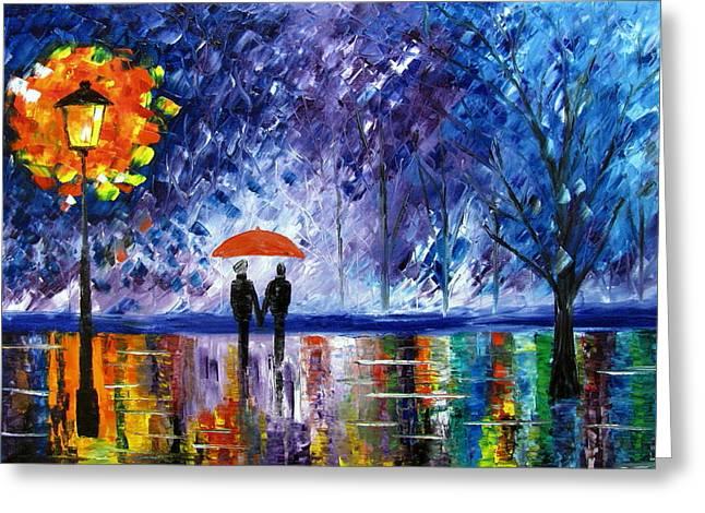 The Rain Greeting Card by Mariana Stauffer