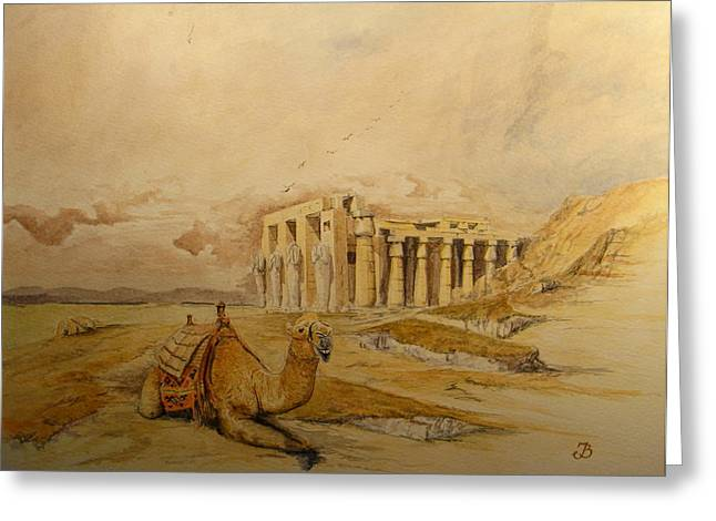 The Ramesseum Theban Necropolis Egypt Greeting Card by Juan  Bosco