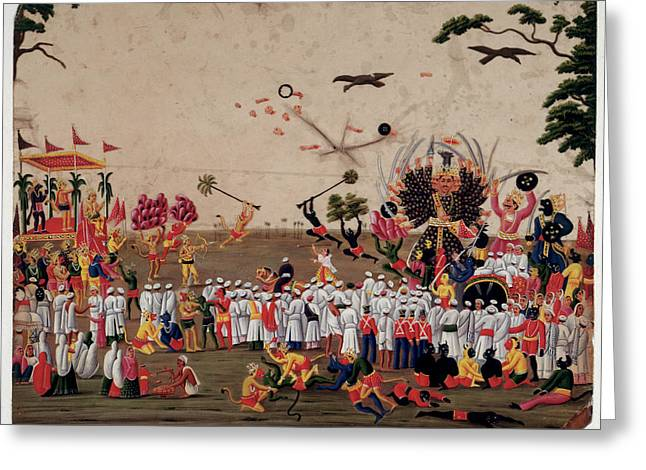 The Ramlila Spectacle At Benares Greeting Card by British Library