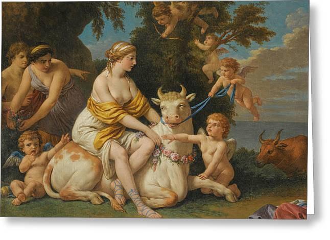 The Rape Of Europa Greeting Card by Louis-Jean-Francois Lagrenee