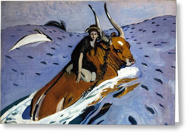 The Rape Of Europa Greeting Card by Valentin Alexandrovich Serov