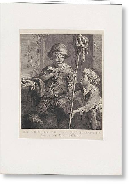 The Rat Catcher With His Servant, Dirk Jurriaan Sluyter Greeting Card by Dirk Jurriaan Sluyter