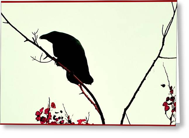 The Raven Greeting Card by Annie Pflueger