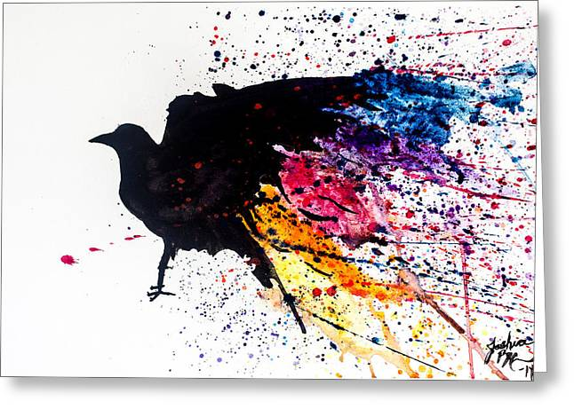 Greeting Card featuring the painting The Raven by Joshua Minso