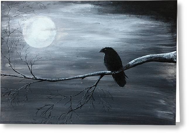 The Raven Piece 2 Of 2 Greeting Card by Gray  Artus
