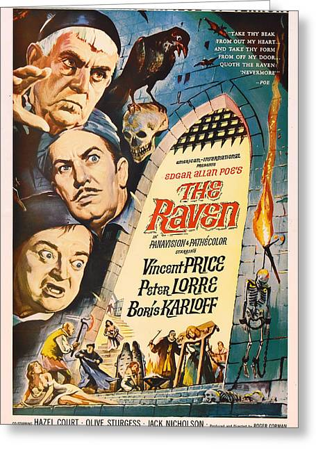 The Raven Vintage Movie Poster Greeting Card by Mountain Dreams
