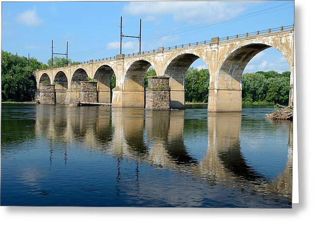 The Reading Csx Railroad Bridge At Ewing Greeting Card by Steven Richman