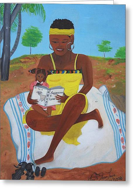 Greeting Card featuring the painting The Reading Lesson by Nicole Jean-Louis