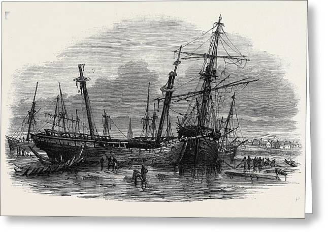The Recent Gale Wrecks At Hartlepool February 1861 Greeting Card