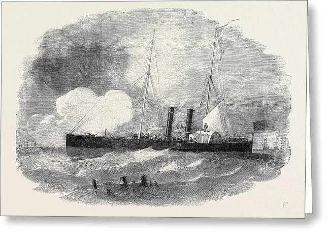 The Recruit Steam Gun Boat The Bombardment Of Taganrog Greeting Card by English School