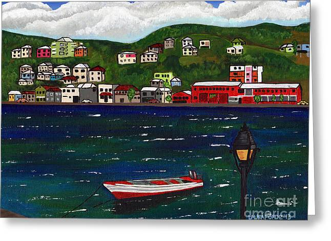 Greeting Card featuring the painting The Red And White Fishing Boat Carenage Grenada by Laura Forde
