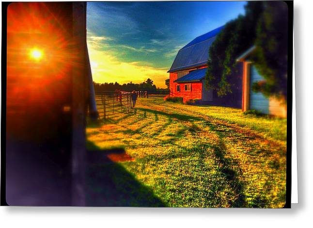 The Red Barn And The Sun Greeting Card