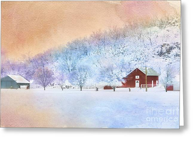 The Red Barn Greeting Card by Betty LaRue
