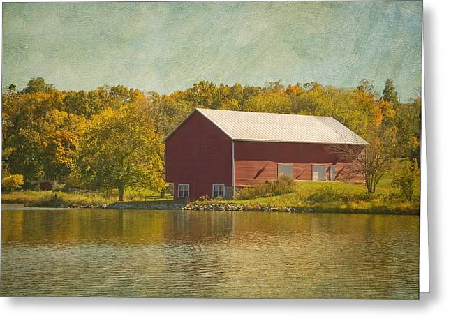 The Red Barn Greeting Card by Kim Hojnacki