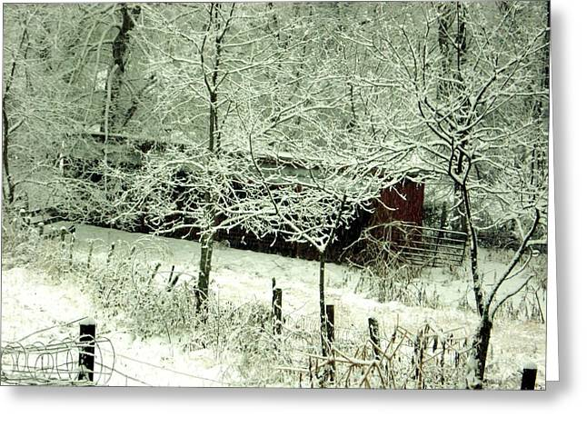 The Red Barn Greeting Card by Mimi Saint DAgneaux