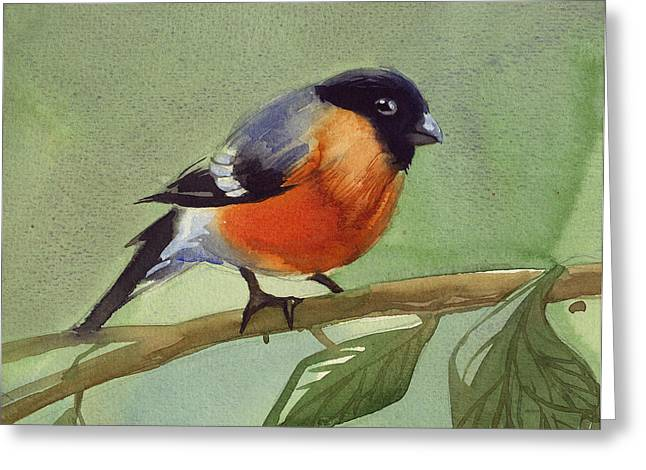 The Red Birdie Greeting Card by Tatiana Zubareva