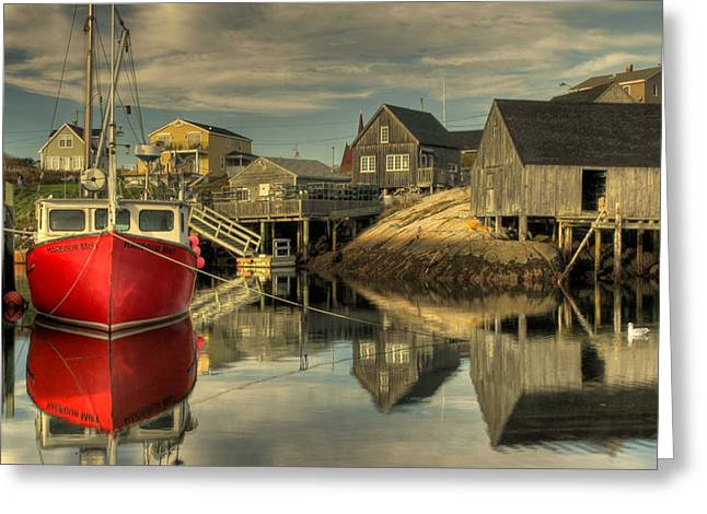 Greeting Card featuring the photograph The Red Boat At Peggys Cove by Rob Huntley