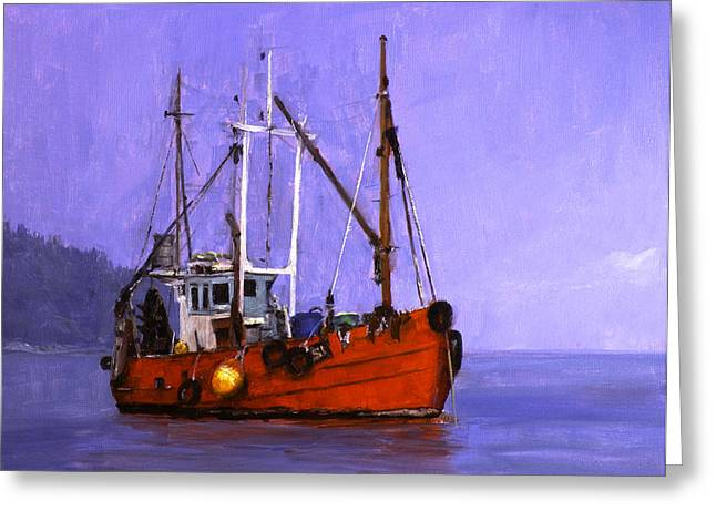 The Red Fishing Boat Greeting Card by Carlos Herrera