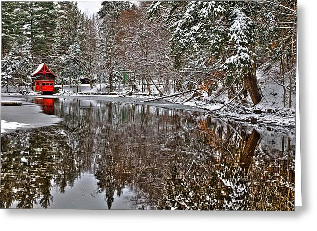 The Red Boathouse In Old Forge Greeting Card by David Patterson