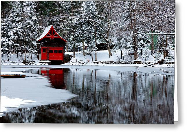 The Red Boathouse In Winter Greeting Card by David Patterson