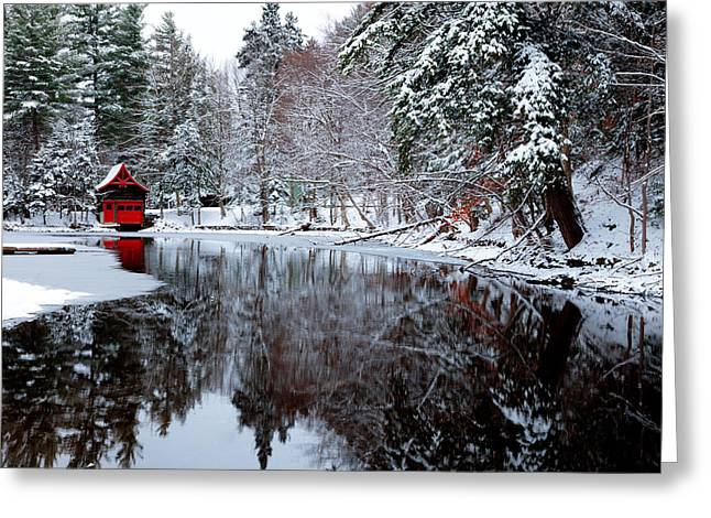 Red Boathouse On Beaver Brook Greeting Card by David Patterson