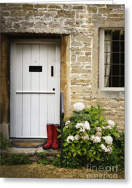 The Red Boots Greeting Card by Margie Hurwich