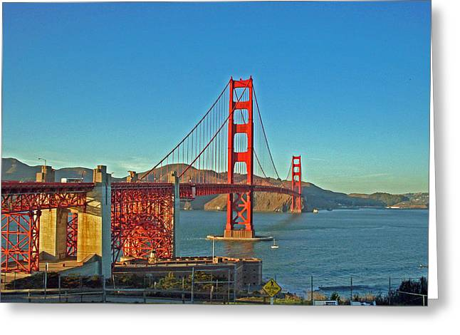 The Red Bridge Greeting Card by Mike Podhorzer