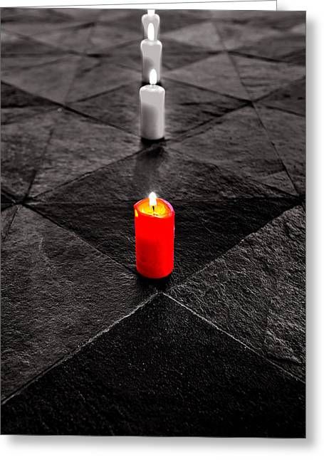 Greeting Card featuring the photograph The Red Candle by Marwan Khoury