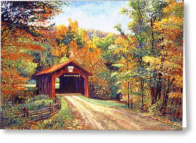 The Red Covered Bridge Greeting Card by David Lloyd Glover