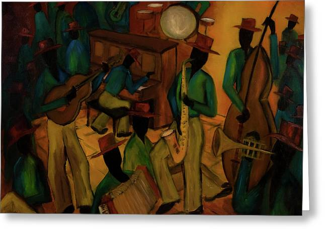 The Red Hat Octet And Friends Greeting Card by Larry Martin