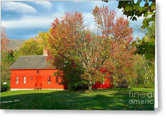 The Red Homestead Greeting Card by Jim  Calarese