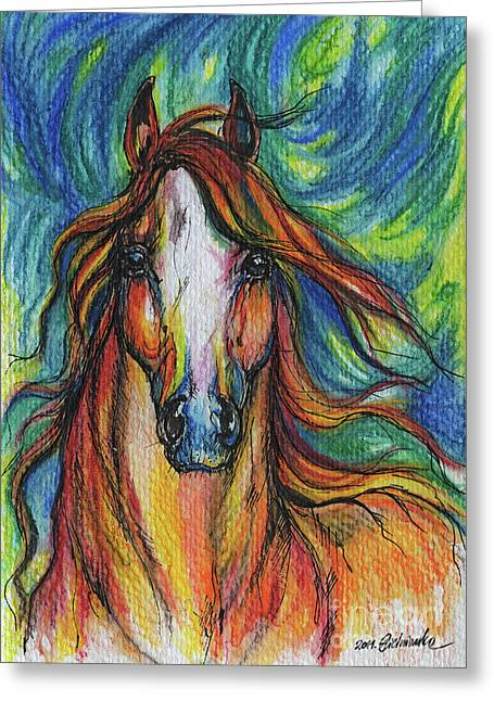 The Red Horse Greeting Card by Angel  Tarantella