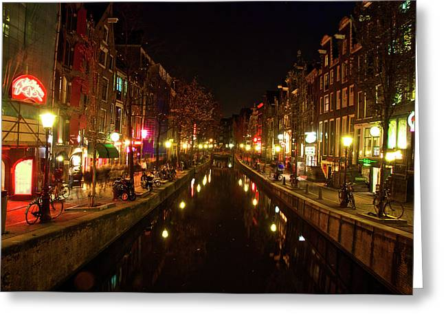 The Red Lights Of Amsterdam Greeting Card