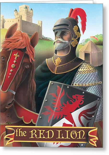 The Red Lion Greeting Card by Peter Green